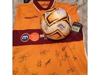 Genuine men's signed Motherwell strip& signed ball **lowered original asking price**