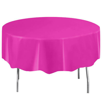 Neon Pink Plastic Table Cover - Round - Neon Table Covers