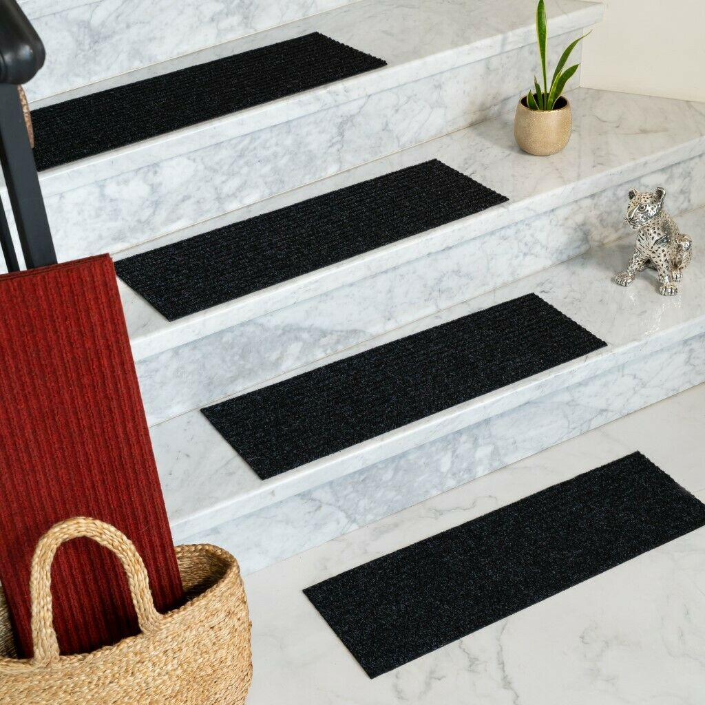 Set Of 13 Natural Area Rugs Halton Charcoal Indoor Polyester Stair Treads - $37.85