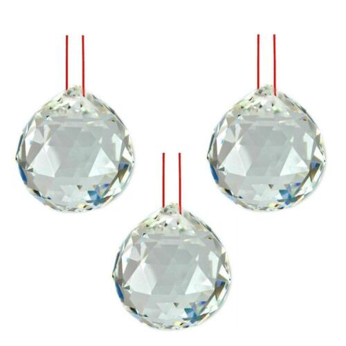 """LOT of 3 FENG SHUI HANGING CRYSTAL BALL 1.25"""" 30mm Sphere Prism Healing Faceted"""