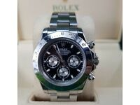 New! Rolex Daytona, silver with black face & ceramic bezel. Complete with BOX, BAG & PAPERWORK. £140