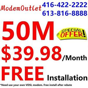 FREE Modem + FREE Dry loop , Unlimited 50M internet for $39.98/month.Please call 416-222-2222 or 1-800-880-1234 to order