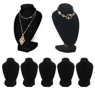 5 Lot Black Velvet Necklace Bust Display Stands Jewelry Holder Rack 15x10cm