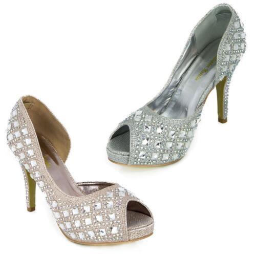 Glitter Gorgeous Wedding Bridal Evening Party Crystal High Heels
