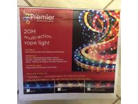 CHRISTMAS ROPE LIGHTS 20 metre Multicoloured Indoor/Outdoor Multi-action 8 Functions. New in Box.
