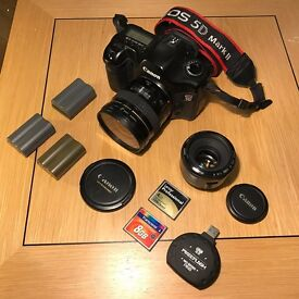 Canon 5D Mk I, 20mm/2.8, 50mm/1.8 Mk II, 3 X Batteries, 8GB & 4GB CF, USB 3.0 Reader