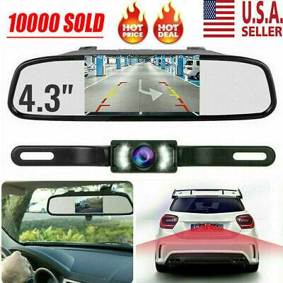 "Backup Camera Mirror Parking System Kit 4.3"" Car Rear View Reverse Night Vision"