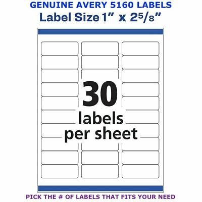 Avery Easy Peel Laser Address Labels 1 X 2 58 5160 Pick Your Own Of Label