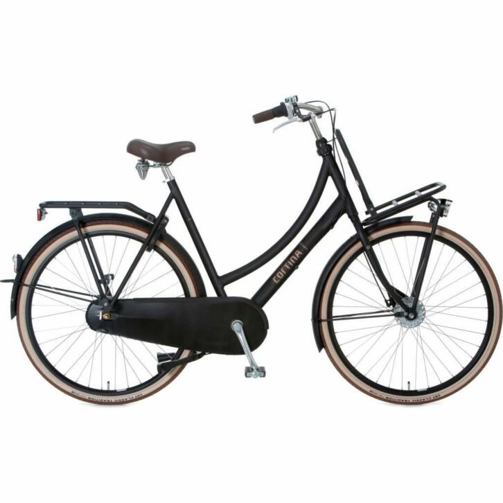 Cortina U4 Transport 7V  damesfiets Mat Zwart (RB + ND)