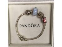 804d977c4 Genuine Silver Pandora Bracelet 18cm 2 Charms 2 Spacers London Bus Crown  Charm
