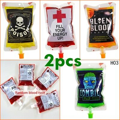 1/2X Reusable Blood Drink Bag Halloween Pouch Props Vampire Cosplay Happy Toy