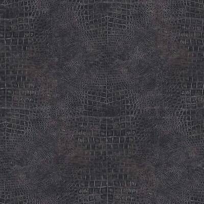 Wallpaper Designer Faux Croc Crocodile Alligator Textured Black Vinyl ()