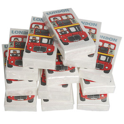 dotcomgiftshop 12 PACKS OF LONDON RED BUS POCKET TISSUES PARTY BAG FILLERS