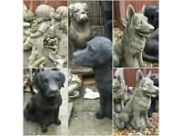 Stone garden dogs French bulldog etc