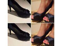 Size 8 Navy Satin High Heels
