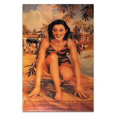 Chinesische Pin-Up Plakat Schwimmer Vintage Badeanzug Aufdruck Asiatisch Frau ()