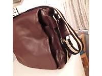 Brown mens leather look messenger/satchel bag
