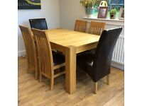 'Harvey's' 6 dining chairs oak & leather