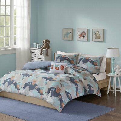 Ink+Ivy Kids Luna Twin Kids Cotton Duvet Cover Bed Set - Navy IIK12-049
