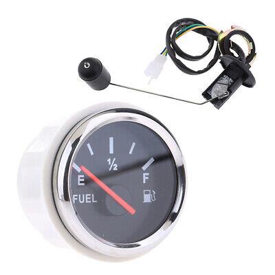 NEW 52mm Fuel Level Gauge Meter + Fuel Sensor E-1/2-F Pointer Trim Kit