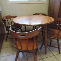 solid oak wood dining set and buffet hutch