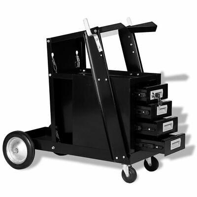 vidaXL Lastrolley met 4 Lades Zwart Las Trolley Gereedschapskar Lasapparatuur