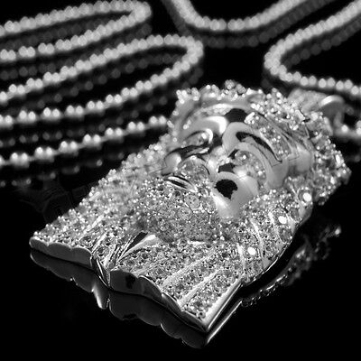 18k White Gold MINI JESUS PIECE Bling Out Iced Simulated Diamond Ball Chain 3S ()