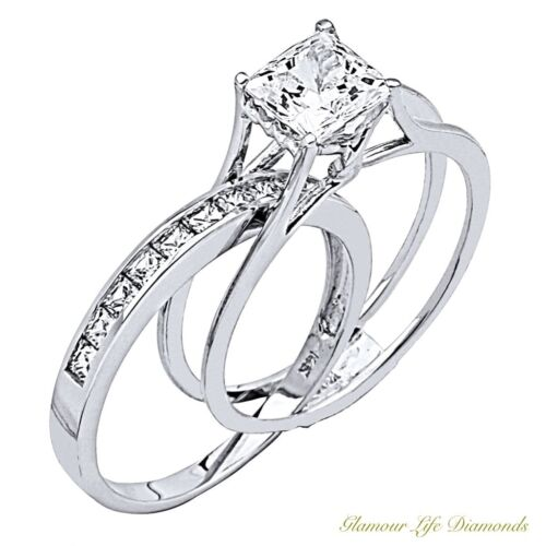2 Ct Princess Cut 2 Piece Engagement Wedding Ring Band Set Solid