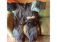 Ski salopettes, inner layers, goggles, gloves, snood, socks