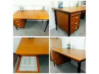 Teak and steel industrial desk