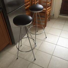2 X chrome based kitchen stools