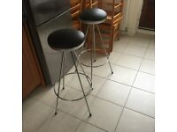 2 X chrome based kitchen stools