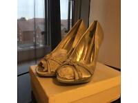 Silver satina bridal heels size 6