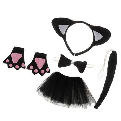 Girls Kids Birthday Black Cat Costume Headband Skirt Bowtie Paw Tail (Black Cat Outfit)