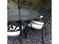Garden Table & 6 Chairs/cushions + Wind up Parasol - Quality Brand - Like New **Delivery**