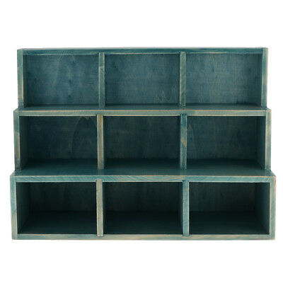 9 Cube Desktop Wooden Storage Shelf Bookcase Bookshelf Cubby Organizer Blue Blue Storage Cubby