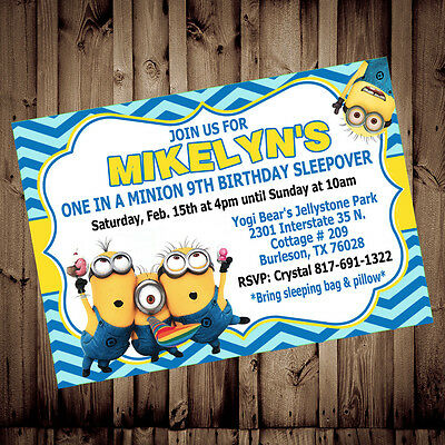 Personalized Minion Despicable Me Birthday 4X6 Printed Chevron Invitations - Personalized Minion Birthday Invitations