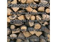 Seasoned Firewood logs + Free Kindling + Free Delivery