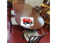 Darkwood extendable Dinning table & 6 chairs (delivered free)