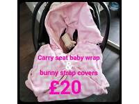 Car seat baby wrap & bunny strap covers