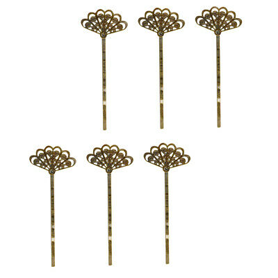 Antique Bronze Fan (6pcs Antique Bronze Filigree Fan Flower  Pins Hair Pins Grips Clips)