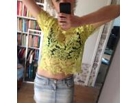 Fun Lace Yellow String Hippy Festival Top 4-12