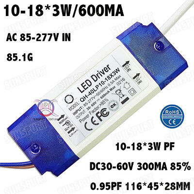 3pieces Ac85-277v 40w Led Driver 10-18x3w 600ma Dc30-60v Pf0.9 Constant Current