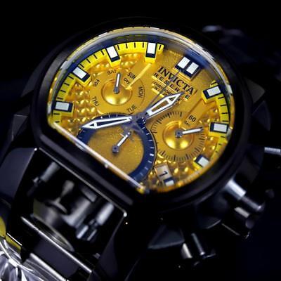 Invicta Reserve Bolt Zeus Magnum Black Steel 52mm Dual Yellow Dials Watch New