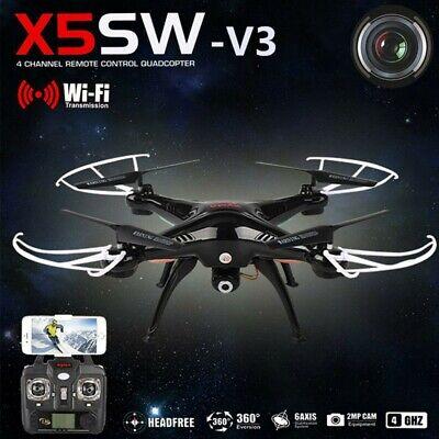 Syma X5SW-V3 2.4G RC Headless Quadcopter Drone 2MP with HD Wifi Camera Stygian