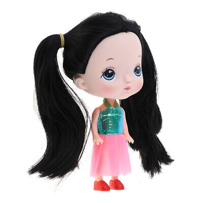 14cm Little Big Head Girl Doll with Black Hair,Pink Dress Home Display - Girl With Pink Hair Show