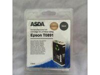 2 x Asda Remanufactured .Epson T8091 Black Ink Cartridges