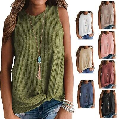 Womens Casual Tops Blouse Sleeveless Twist Knot Waffle Knit Shirts Vest Tank Top Super Braid Knots