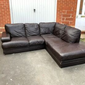 Good Conditions Corner Sofa Brown Leather ( Free Local Delivery )