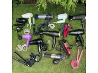 JOB LOT 9 hair dryers, 4 straighteners, 2 curlers